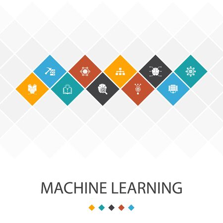 Machine learning trendy UI template infographics concept.