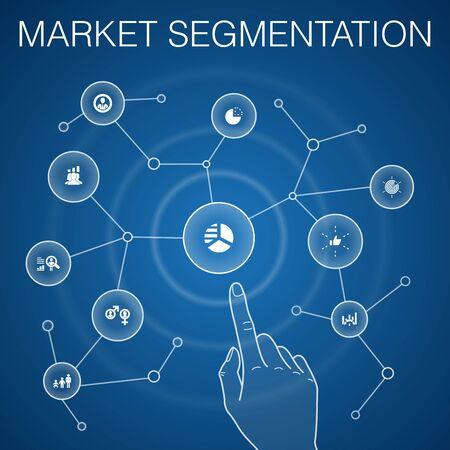 market segmentation concept, blue background.demography, segment, Benchmarking, Age group icons Stock Illustratie