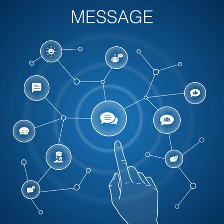 message concept, blue background.emoji, chatbot, group chat, message app icons