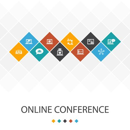 online conference trendy UI template infographics concept