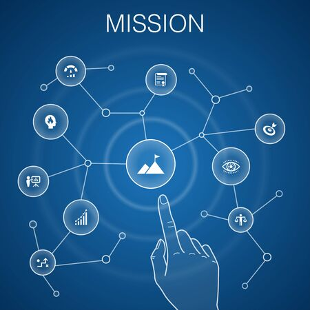 Mission concept, blue background.growth, passion, strategy, performance icons