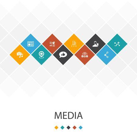 media trendy UI template infographics concept.news, reporter, Infographics, media icons Ilustração