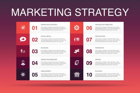 marketing strategy Infographic 10 option template.planning, marketing manager, presentation, planning icons