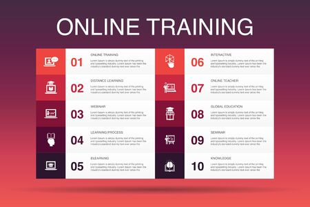Online Training Infographic 10 option template.Distance Learning, learning process, elearning, seminar icons