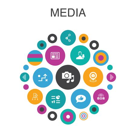 media Infographic circle concept. Smart UI elements news, reporter, Infographics, media