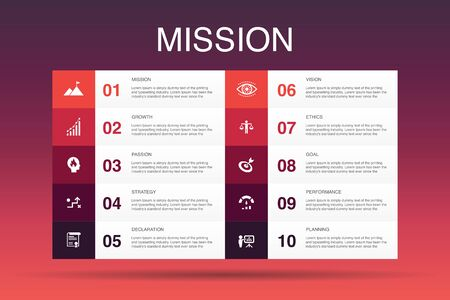 Mission Infographic 10 option template.growth, passion, strategy, performance icons Ilustrace