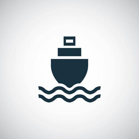 navire dans l'icône de la mer modèle de concept de symbole simple à la mode Vecteurs