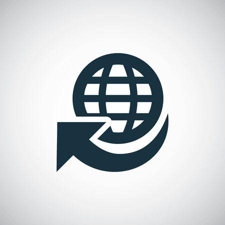globe arrow icon trendy simple symbol concept template