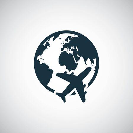 globe avion icône à la mode simple symbole concept modèle