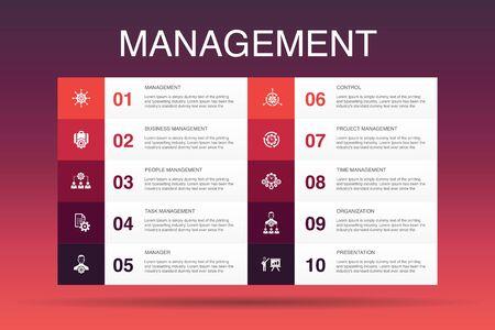 Management Infografik 10 Option Vorlage.Manager, Kontrolle, Organisation, Präsentationssymbole