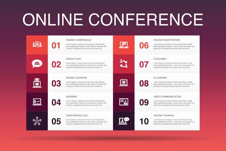 online conference Infographic 10 option template. group chat, online learning, webinar, conference call icons Stock Vector - 130161285