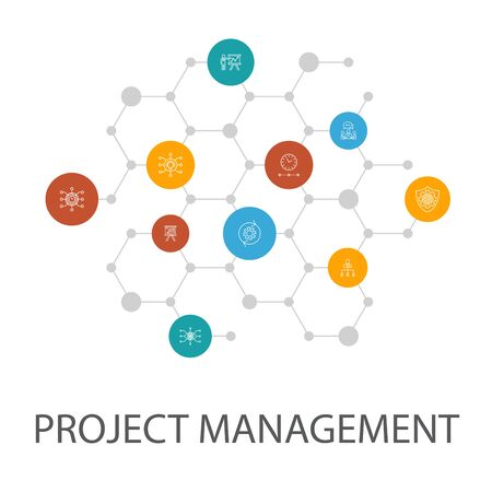 Project management presentation template, cover layout and infographics. Project presentation, Meeting, workflow, Risk management