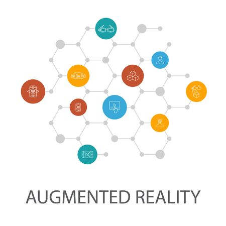 Augmented reality presentation template, cover layout and infographics. Facial Recognition, AR app, AR game, Virtual Reality
