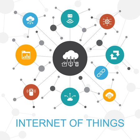 Internet of things trendy web concept with icons. Contains such icons as Dashboard, Cloud Computing, Smart assistant