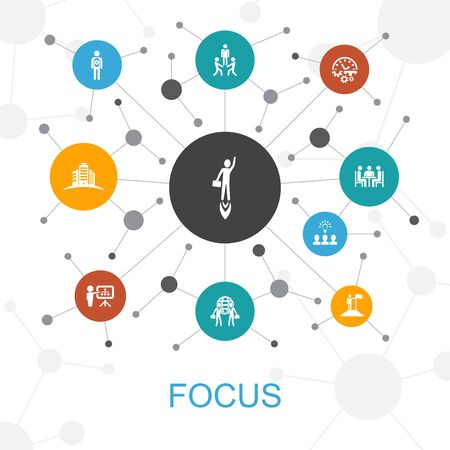 focus trendy web concept with icons. Contains such icons as target, motivation, integrity Иллюстрация