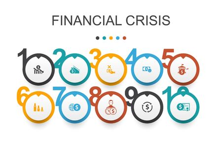 financial crisis Infographic design template.budget deficit, Bad loans, Government debt, Refinancing simple icons