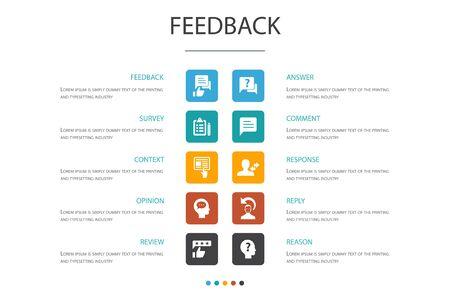 feedback Infografica 10 opzione modello.sondaggio, opinione, commento, icone di risposta