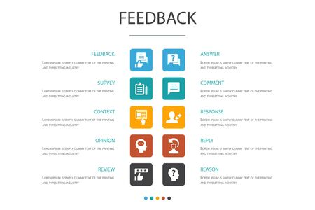 feedback Infographic 10 option template.survey, opinion, comment, response icons