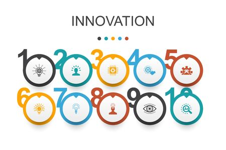 Innovation Infographic design template.inspiration, vision, creativity, development icons Vetores