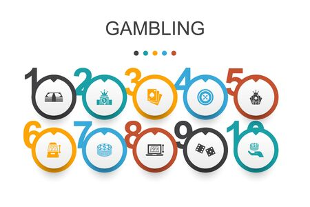 gambling Infographic design template.roulette, casino, money, online casino simple icons Illusztráció