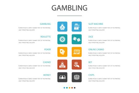 gambling Infographic 10 option template.roulette, casino, money, online casino icons