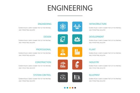 engineering Infographic 10 option template.design, professional, System Control, Infrastructure simple icons Иллюстрация