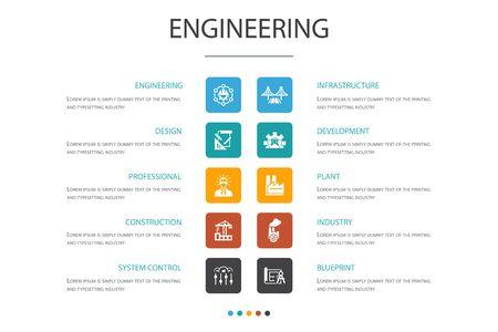 ingénierie Infographie 10 option template.design, professionnel, contrôle du système, icônes simples d'infrastructure