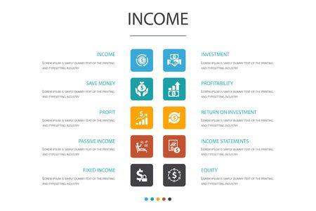 Einkommen Infografik 10-Optionskonzept. Sparen Sie Geld, Gewinn, Investition, Rentabilitätssymbole