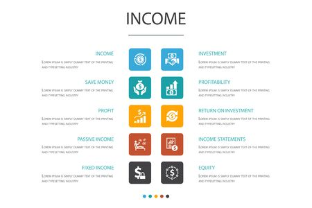 Income Infographic 10 option concept.save money, profit, investment, profitability icons