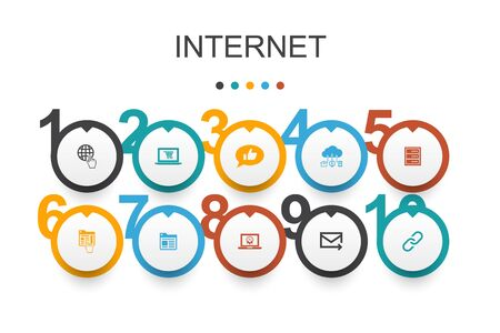 internet Infographic design template. ecommerce, social media, website, Email icons