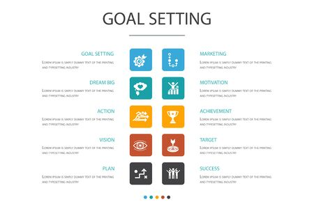 goal setting Infographic 10 option concept.dream big, action, vision, strategy icons