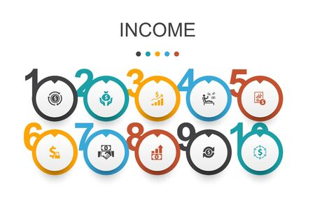 Income Infographic design template.save money, profit, investment, profitability icons