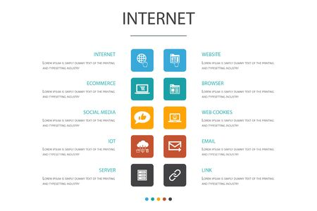 internet Infographic 10 option template. ecommerce, social media, website, Email icons