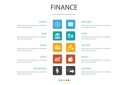 Finance Infographic 10 option template.Bank, Money, Graph, Exchange icons