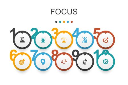 focus Infographic design template.target, motivation, integrity, process icons Иллюстрация