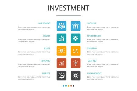 Investment Infographic 10 option template. profit, asset, market, success icons