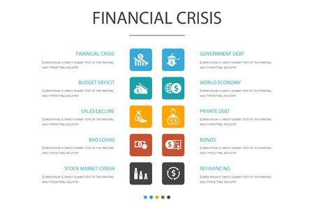 financial crisis Infographic 10 option template.budget deficit, Bad loans, Government debt, Refinancing icons