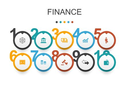 Finance Infographic design template.Bank, Money, Graph, Exchange icons