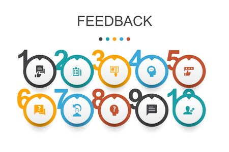 feedback Infographic design template.survey, opinion, comment, response icons Çizim