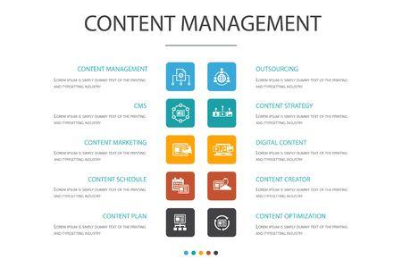 Content Management Infographic 10 option concept.CMS, content marketing, outsourcing, digital content icons