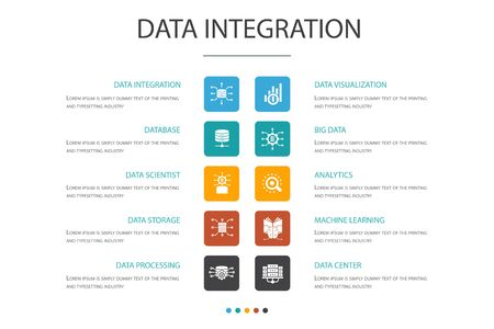Data integration Infographic 10 option concept. database, data scientist, Analytics, Machine Learning icons