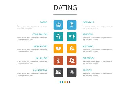 Dating Infographic 10 option concept.couple in love, fall in love, dating app, relations icons