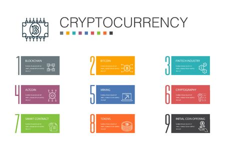 CryptocurrencyInfographic 10 option line concept. blockchain, fintech industry, Mining, Cryptography icons