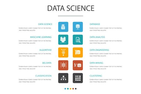 Data Science Infographic 10 option concept.machine learning, Big Data, Database, Classification icons Illustration