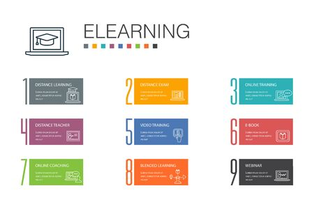 eLearning Infographic 10 option line concept. Distance Learning, Online Training, Video training, Webinar icons Çizim