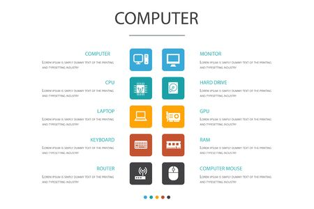 Computer Infographic 10 option concept.CPU, Laptop, Keyboard, hard drive icons