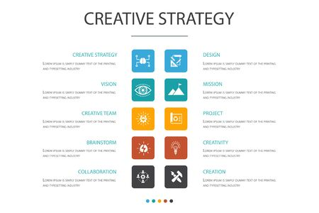 Creative Strategy Infographic 10 option concept.vision, brainstorm, collaboration, project icons Ilustrace