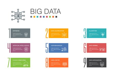 Big data Infographic 10 option line concept. Database, Artificial intelligence, User behavior, Data center icons