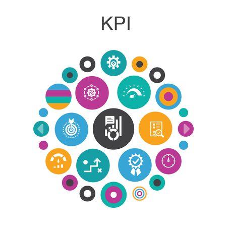 KPI Infographic circle concept. Smart UI elements optimization, objective, measurement, indicator