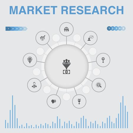 Market research infographic with icons. Contains such icons as strategy, investigation, survey Ilustração